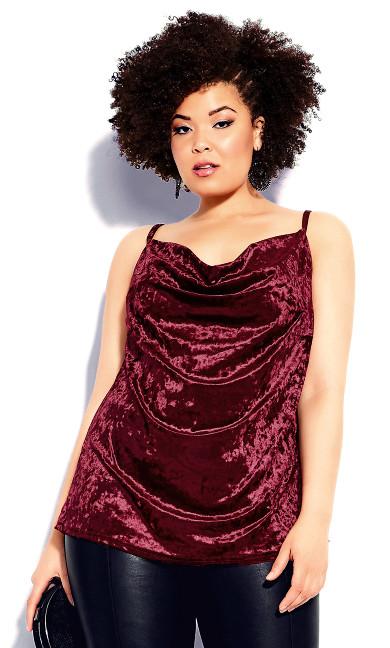 Plus Size Velvet Lust Cami - ruby