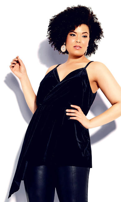 Plus Size Velvet Love Top - black