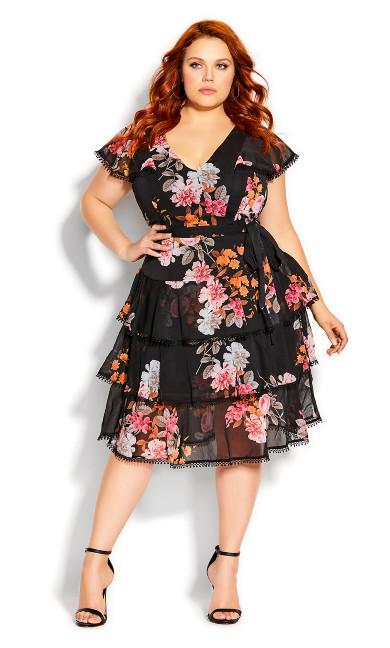 Plus Size Floral Crush Dress - black