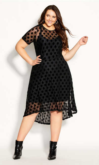 Plus Size Spot Flock Dress - black