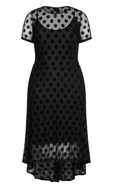 Spot Flock Dress - black