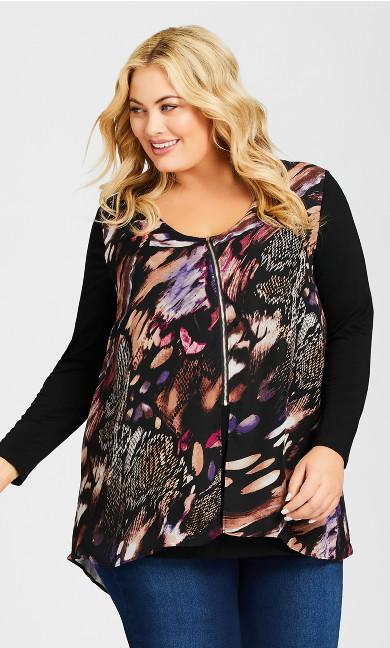 Plus Size Gemma Zip Print Top - black