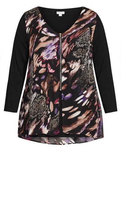 Gemma Zip Print Top - black