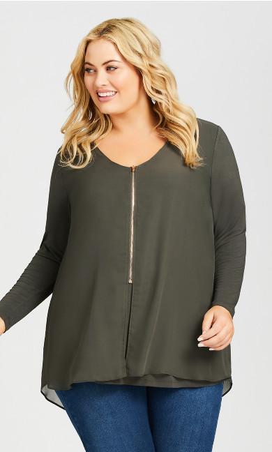Plus Size Gemma Zip Mixed Media Top - olive