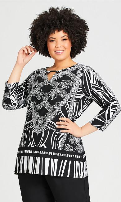 Plus Size Georgia Top - black white