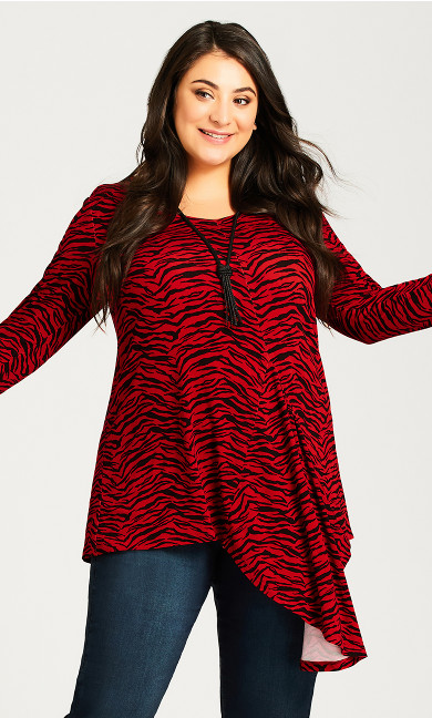 Plus Size Holly Top - red animal