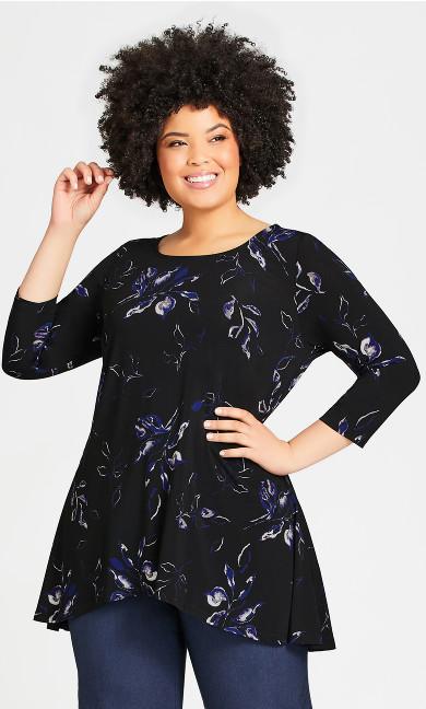 Plus Size Alana Tunic - black floral