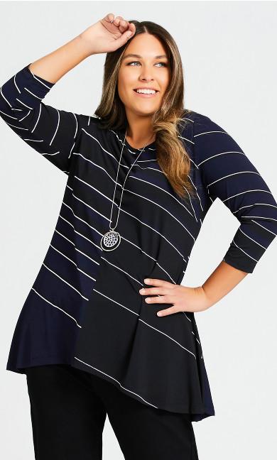 Plus Size Alana Tunic - black stripe