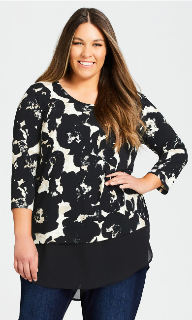 Plus Size Eden Tunic - black abstract