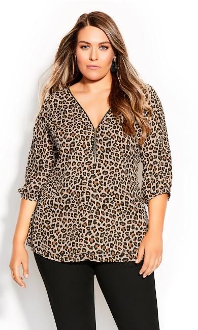 Plus Size Cheetah Fling Top - cheetah