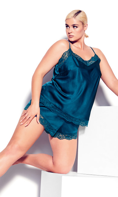 Plus Size Blue Slinky Cami PJ Set