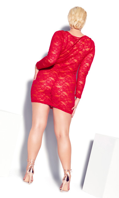 Sheer Lace Chemise - ruby