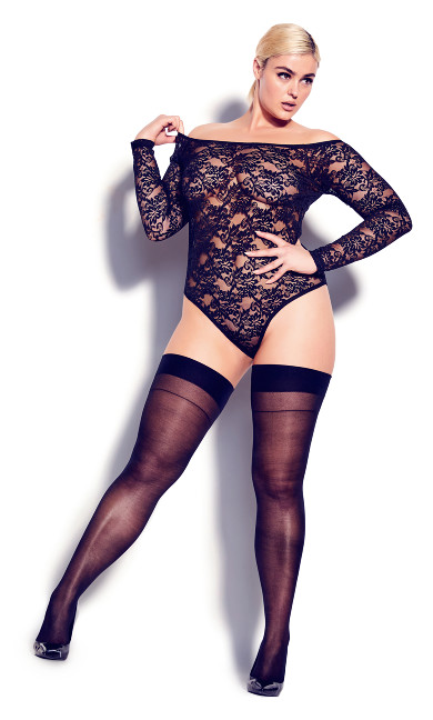 Sheer Lace Bodysuit - black