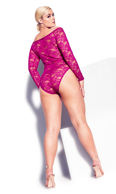 Sheer Lace Bodysuit - cerise