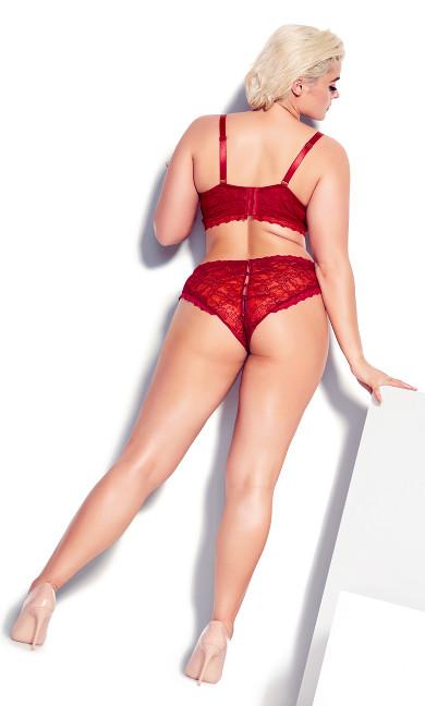 Gia Crotchless Panty - garnet