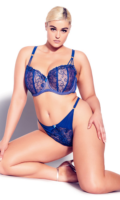 Tatiana Crotchless G-String - royal blue