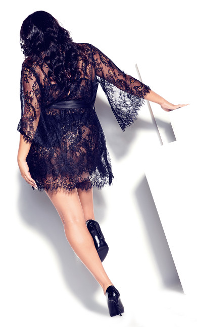 Eva Lace Robe - black