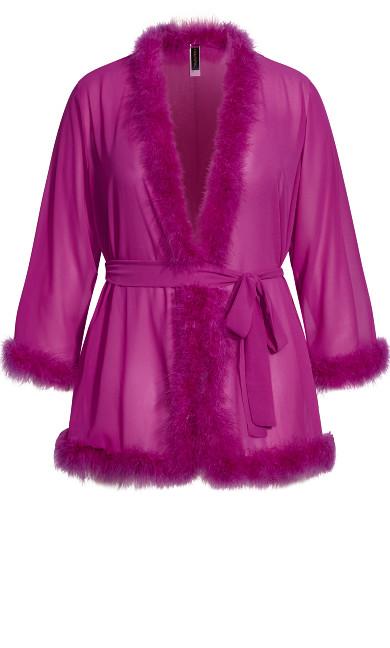 Marabou Trim Short Robe - wild aster