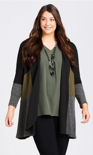 Plus Size Cora Cardi - black khaki