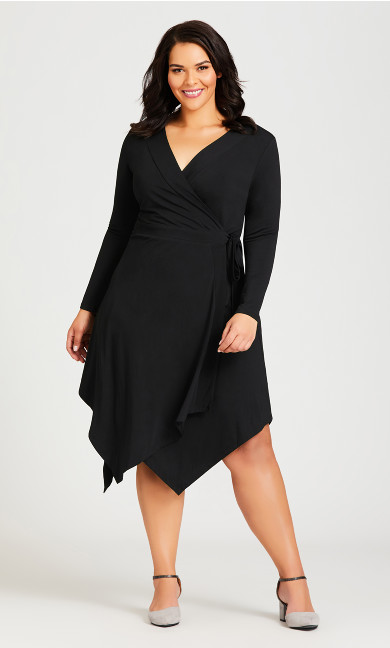 Plus Size Sofia Plain Dress - black