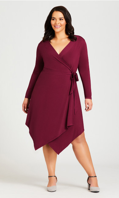 Plus Size Sofia Plain Dress - plum