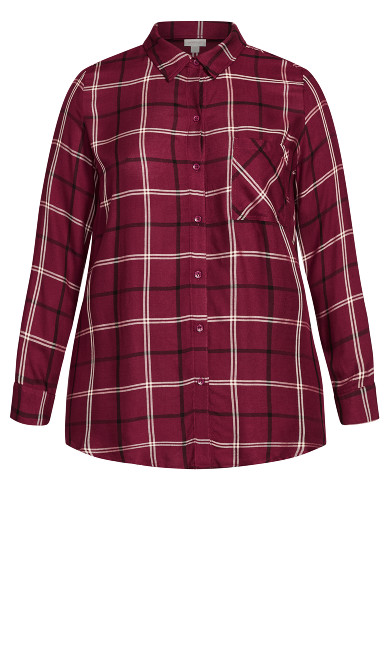 Kylee Check Shirt - berry