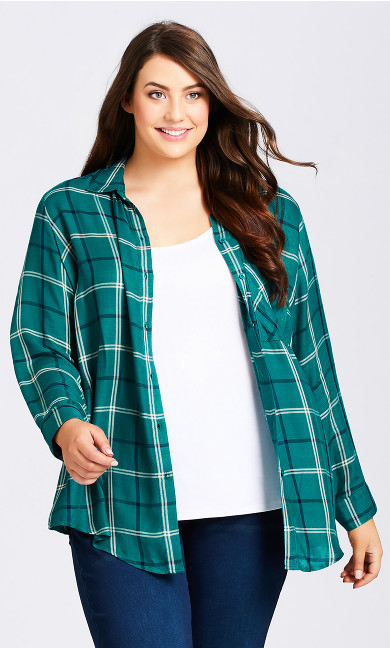 Plus Size Kylee Check Shirt - jade