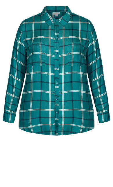 Kylee Check Shirt - jade