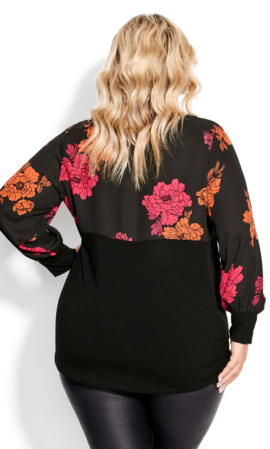 Josie Mixed Media Top - black floral