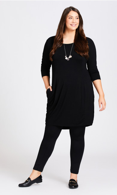 Plus Size Celine Plain Dress - black