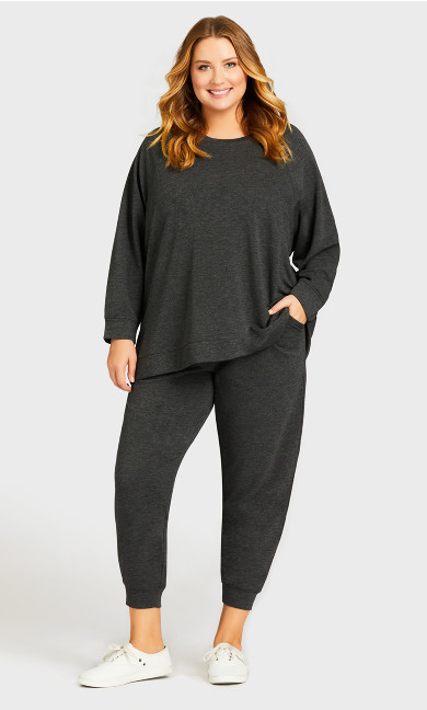 Plus Size Pocket Lounge Pant Charcoal - average