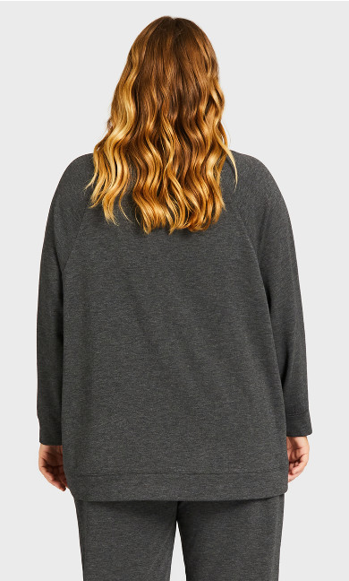 High Low Lounge Top - charcoal