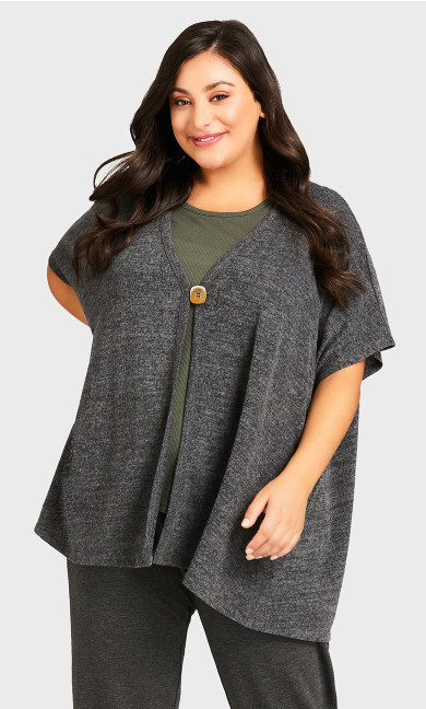 Plus Size Slouchy Lounge Cardi - charcoal