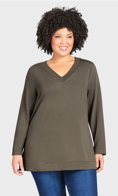 V Lounge Top - khaki