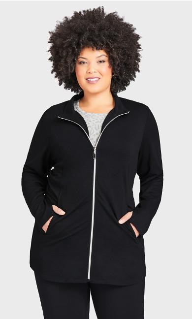 Plus Size Zip Swing Jacket - black