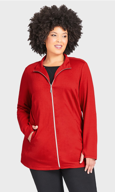 Plus Size Zip Swing Jacket - red
