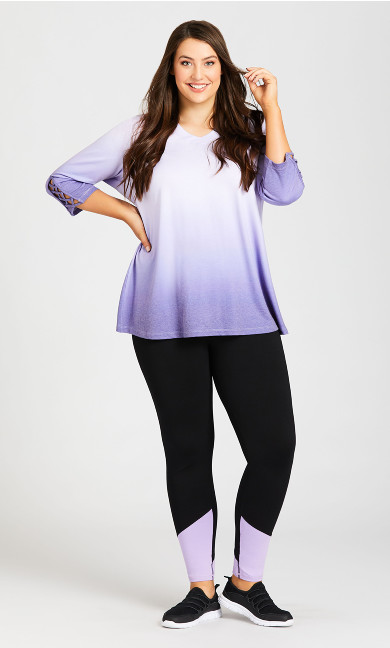Plus Size Legging Color Block Black Lilac - average