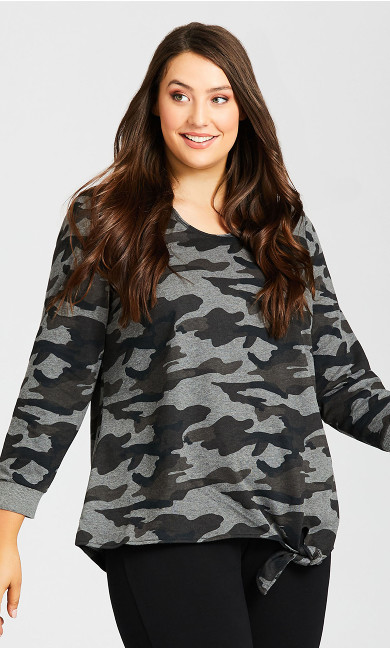Plus Size Sweat Top - camo