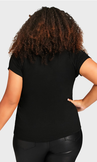3 Bar V Neck Top - black