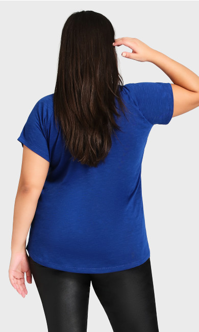 3 Bar V Neck Top - cobalt