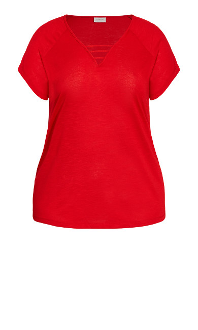 3 Bar V Neck Top - red