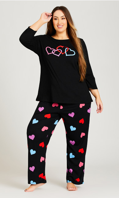 Plus Size Full Length Heart Pant - black