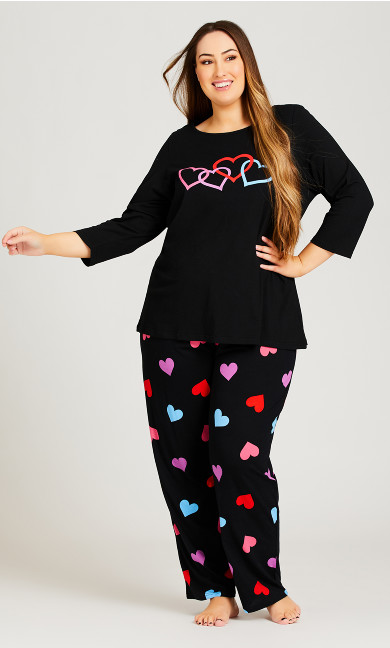 Heart Print Top - black
