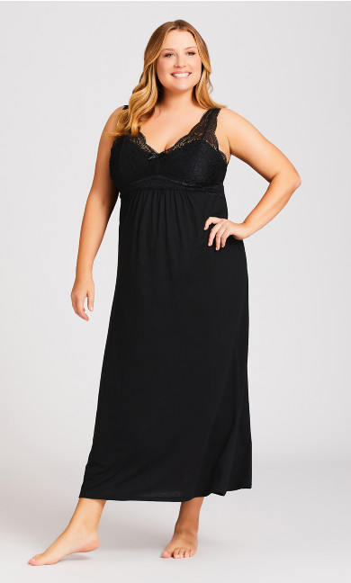 Plus Size Sexy Sleep Maxi Dress - black