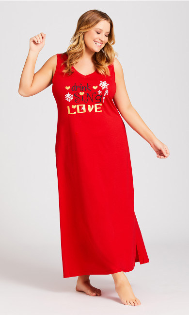 Plus Size Sing Sleep Maxi Dress - red