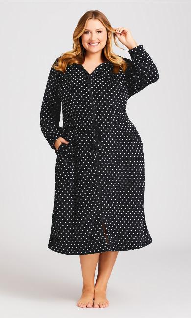 Plus Size Zip Spot Robe - black