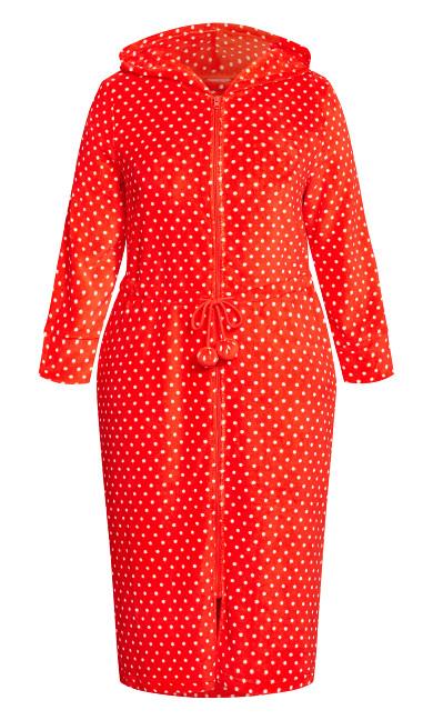 Zip Spot Robe - red