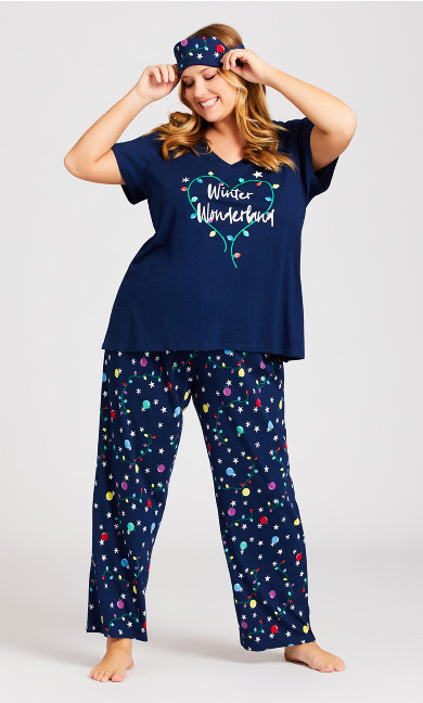 Plus Size Winter Sleep Set - navy