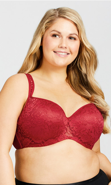 Lace Balconette Fashion Bra - red