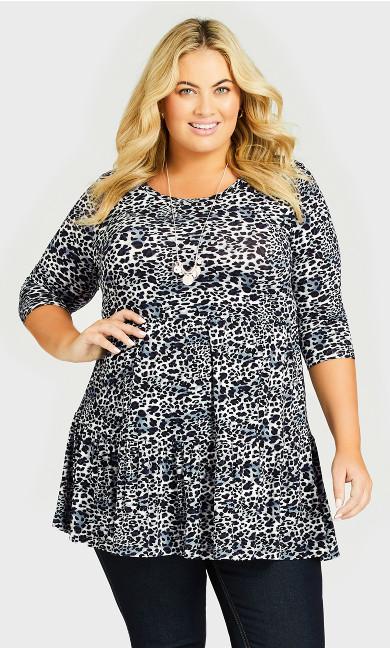 Plus Size Amaya Print Tunic - smoke leopard